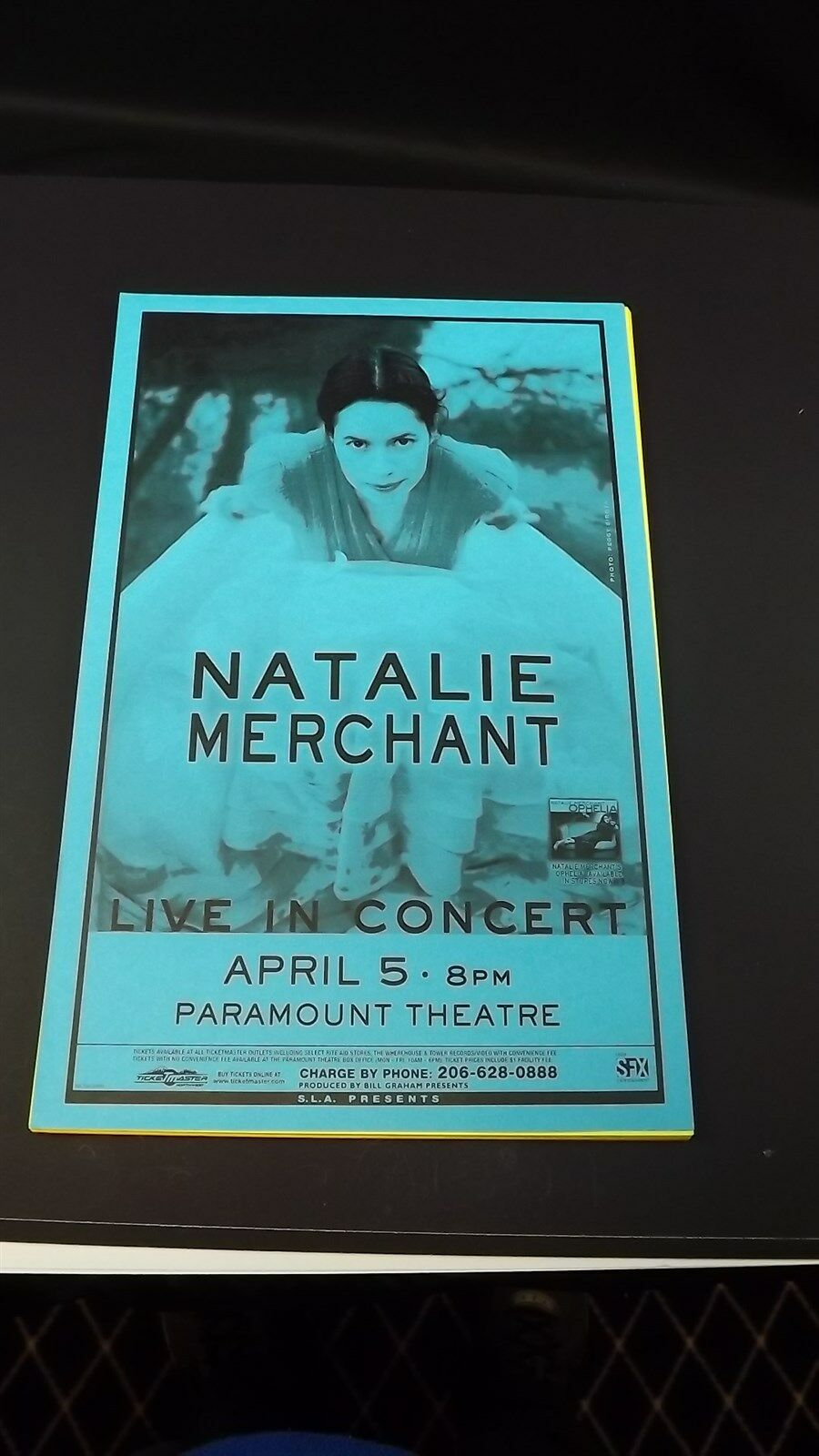 Genuine 1999 NATALIE MERCHANT Live In Concert Paramount Theatre Poster Flyer Ad 1