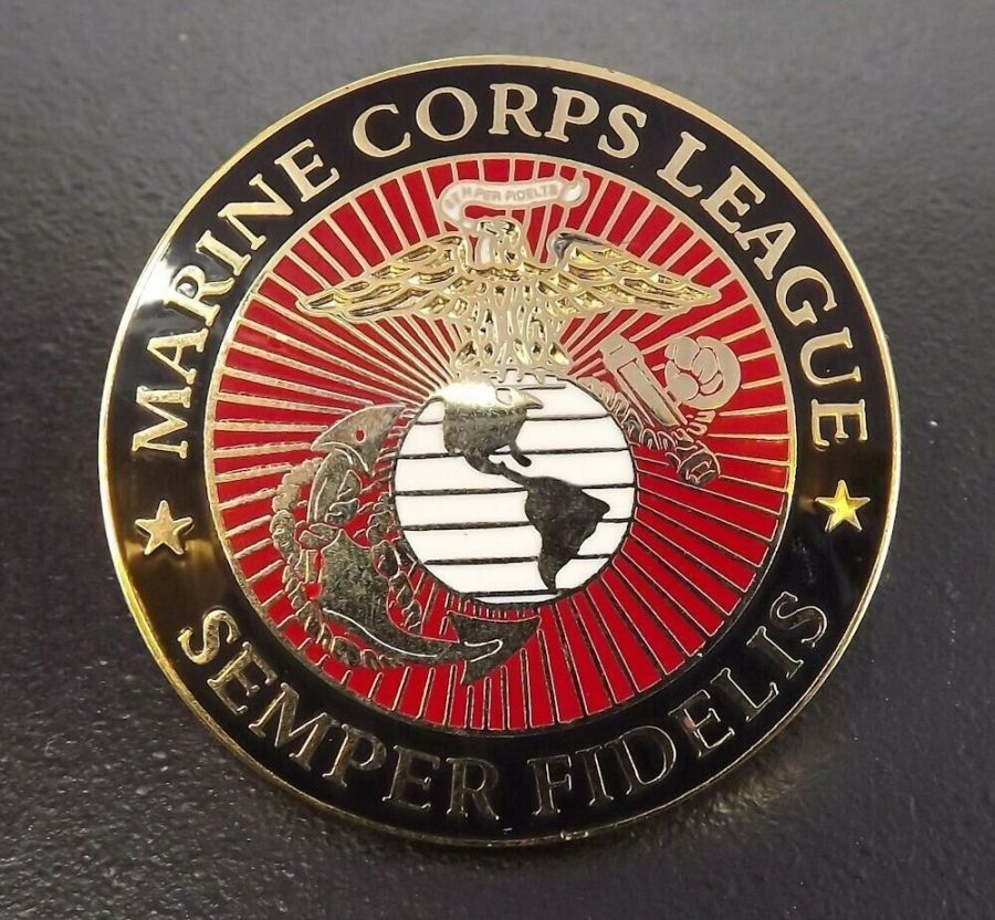 "Lapel pin NEW USMC Marine Corp League Logo 1-1/2"" Enameled Brass 1"