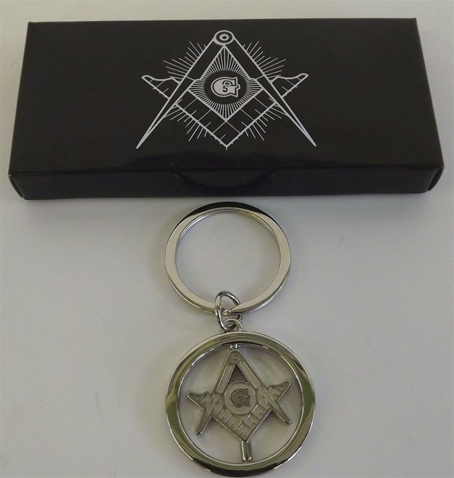 "New Silver Tone Masonic Mason Key Chain Square & Compass FREEMASON ""SPINS"" 1"