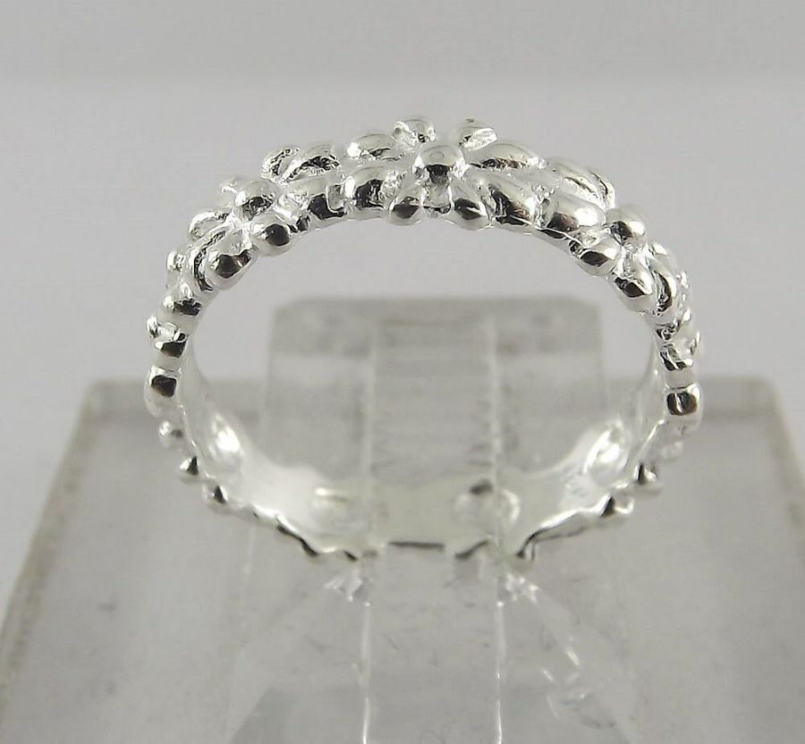 New Sterling Silver 925 Hawaiian Flower Band Ring Size 5 1