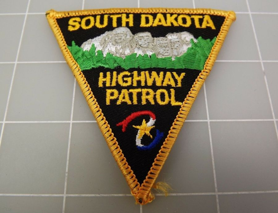 "SOUTH DAKOTA Highway Patrol Black & Yellow PATCH BRAND NEW 3 1/4"" 1"