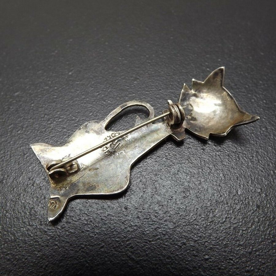 Vintage Sterling Silver Beautiful Abalone Cat Pin Brooch Solid .925 3.9 Grams 4