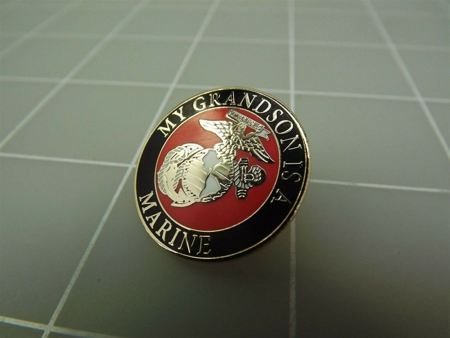"BRAND NEW Lapel Pin USMC My Grandson Is A Marine Red & Black Enamel 7/8"" 1"