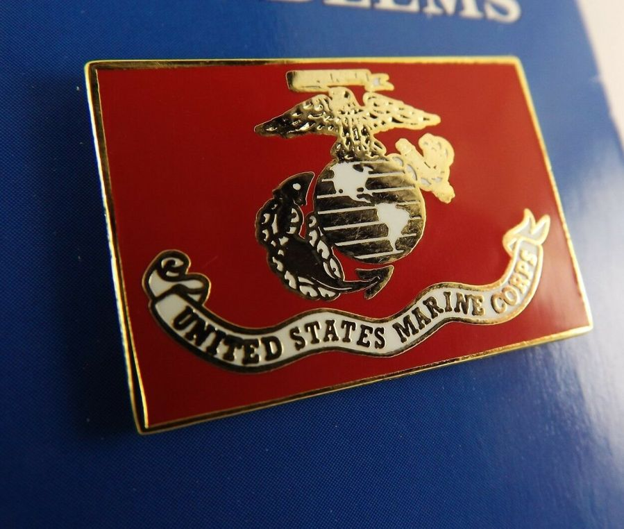 "BRAND NEW Lapel Pin United States Marine Corp Flag Red Enamel 1 1/8"" 2"