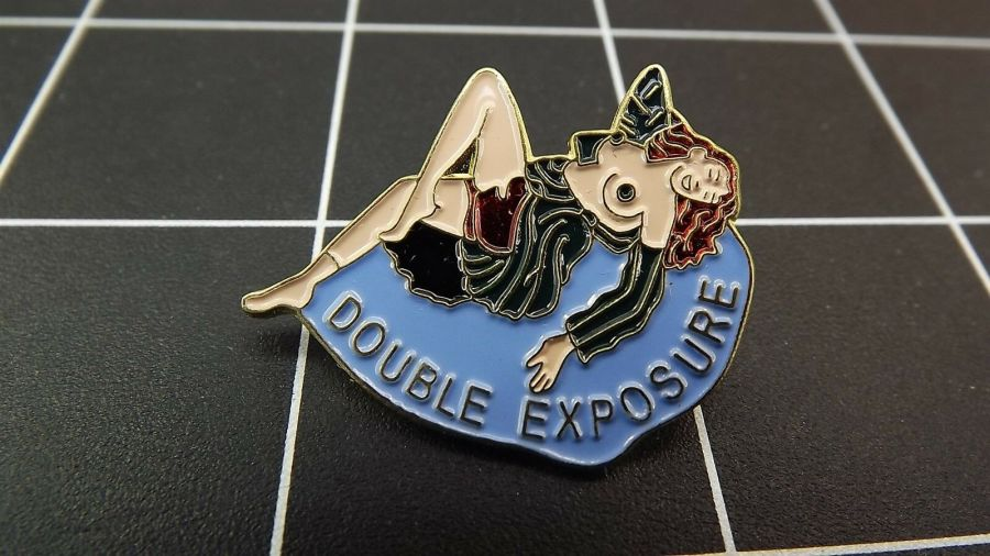 Collectible Enamel Pin Up Girl DOUBLE EXPOSURE Nose Art Lapel Pin 1