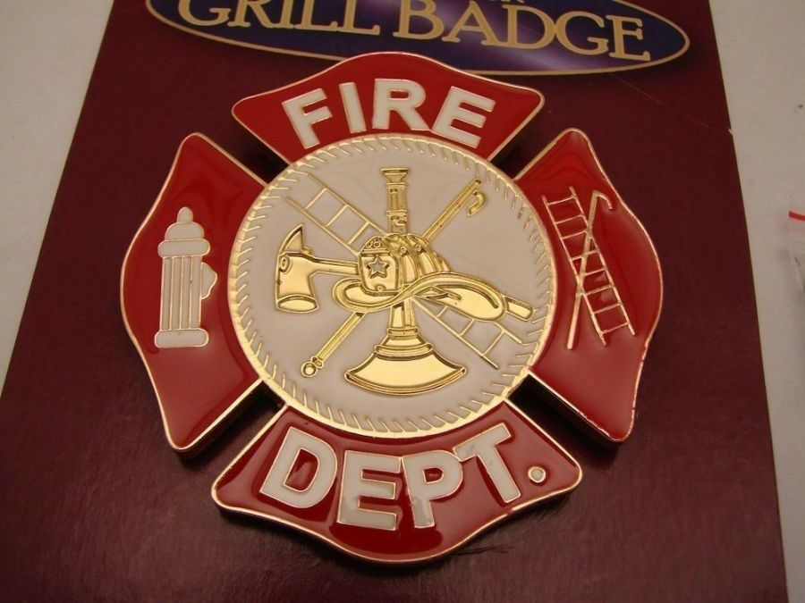"FIRE DEPARTMENT GRILL BADGE CAR TRUCK NEW 3-1/16""  BRAND NEW BRASS 3"
