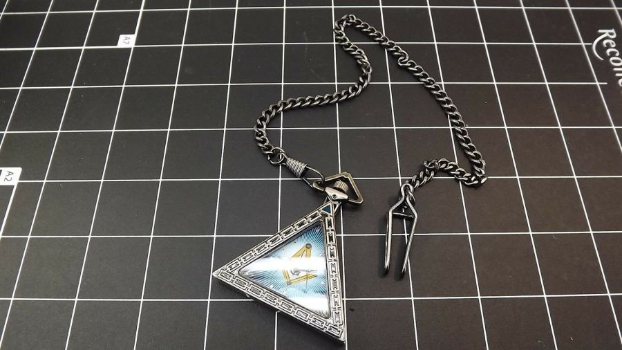 New Masonic Mason Triangle Pocket Watch With Case Freemasons  BLUE LODGE 4