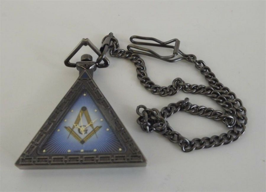 New Masonic Mason Triangle Pocket Watch With Case Freemasons  BLUE LODGE 1