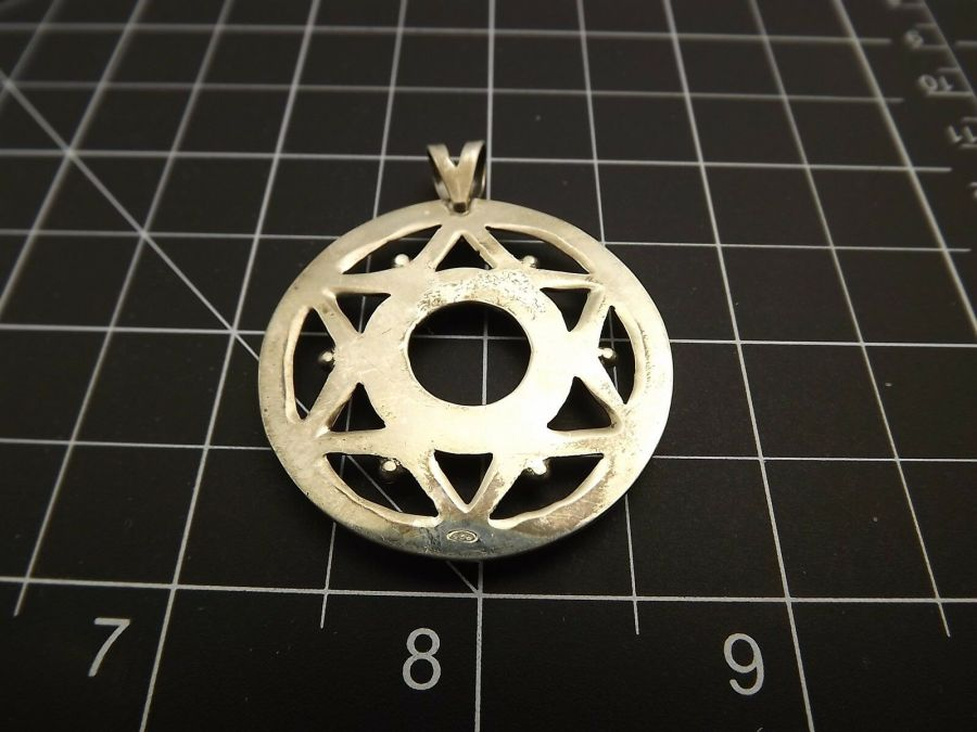 Sterling Silver 925 LARGE PENDANT FOR REPAIR OR PARTS Circle 8.3 Grams 4