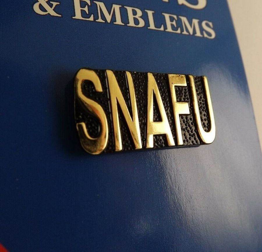 """BRAND NEW Lapel Pin SNAFU Situation Normal All F****d Up Script 1 1/4"""" 1"""