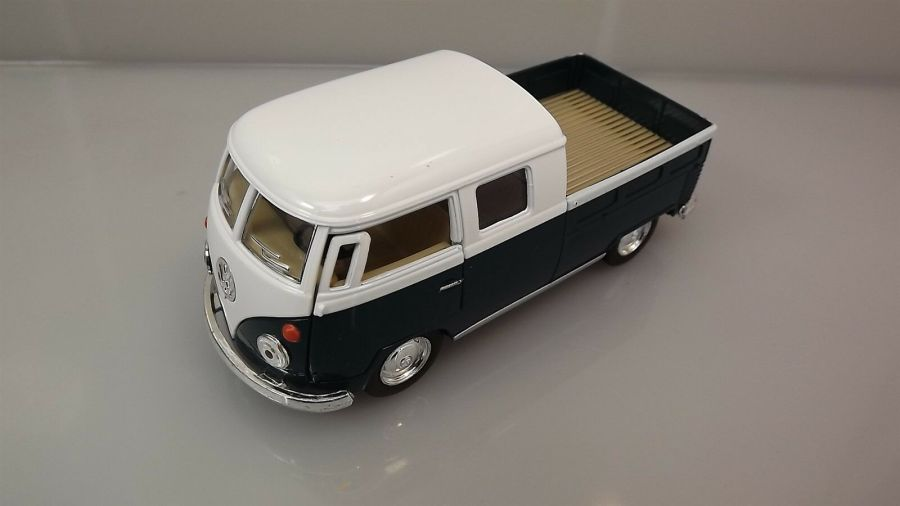 Die Cast Green 1963 Double Cab Pickup Volkswagen Classic Bus 1:34 Scale New 1