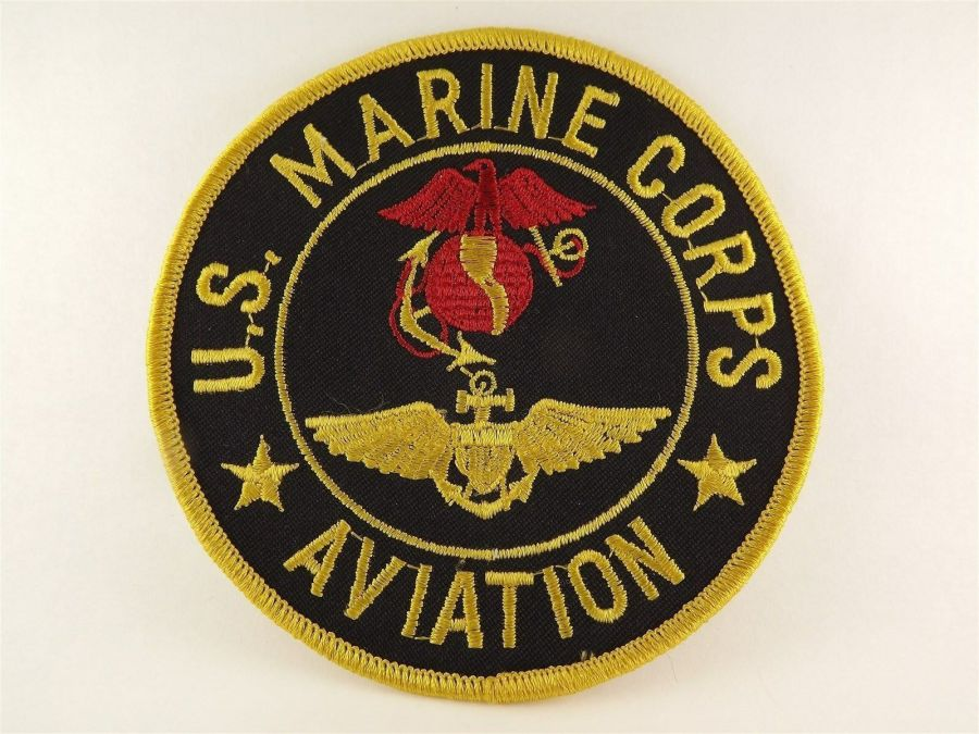 "MARINE CORPS USMC AVIATION PATCH LOGO GOLD BLACK BRAND NEW 4"" 2"