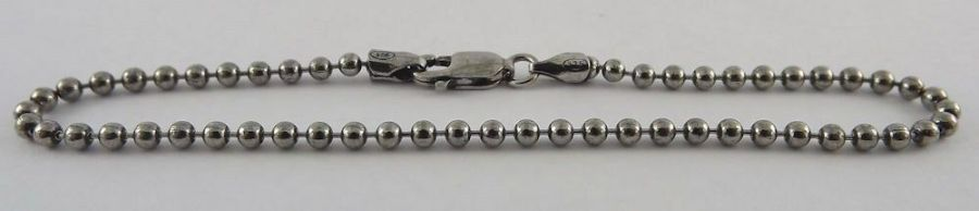 "Sterling Silver 925 Ball Stud Dog Tag Style Bracelet 7"" Long 4"