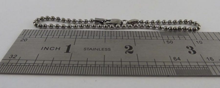 "Sterling Silver 925 Ball Stud Dog Tag Style Bracelet 7"" Long 5"