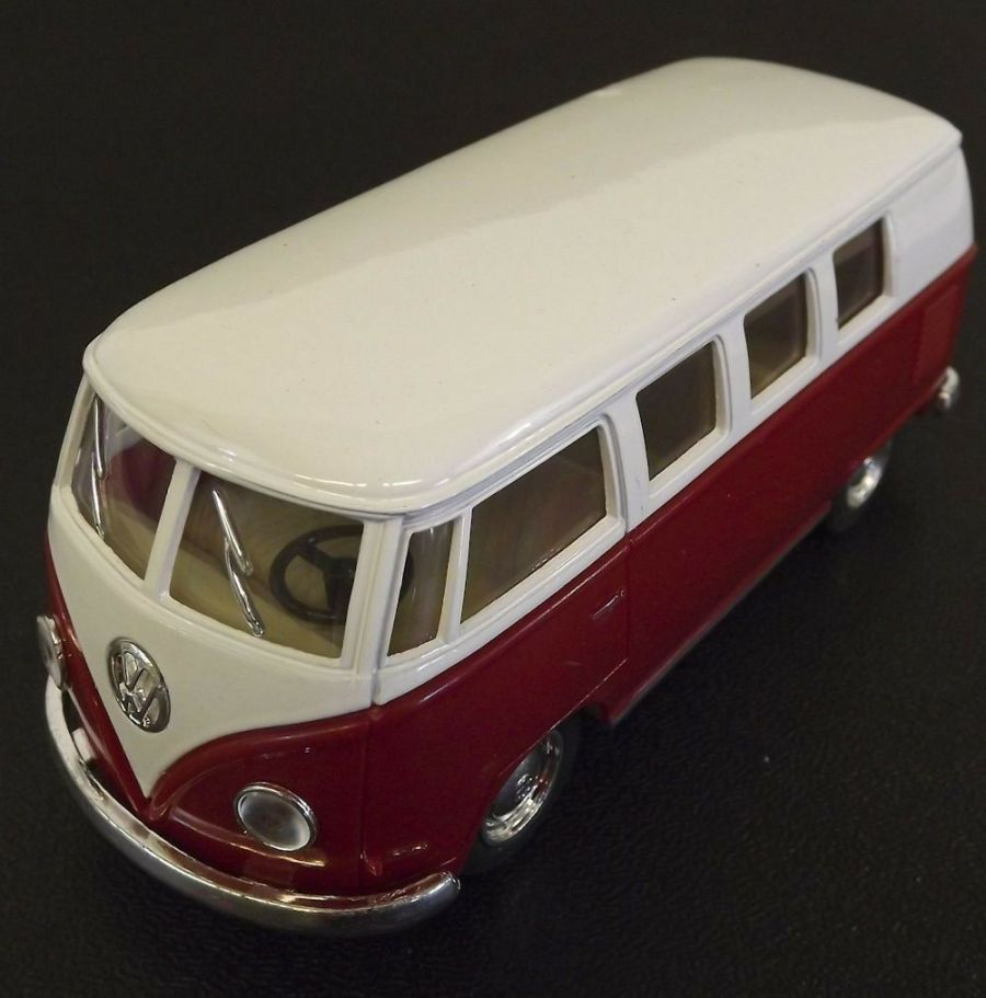 Collectible Die Cast RED 1962 Volkswagen Classic Bus VW 1:32 Scale Kinsmart 1