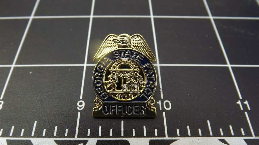 """GEORGIA STATE PATROL"" MINI-BADGE Enamel Lapel Pin BRAND NEW 3"