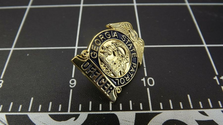 """GEORGIA STATE PATROL"" MINI-BADGE Enamel Lapel Pin BRAND NEW 1"