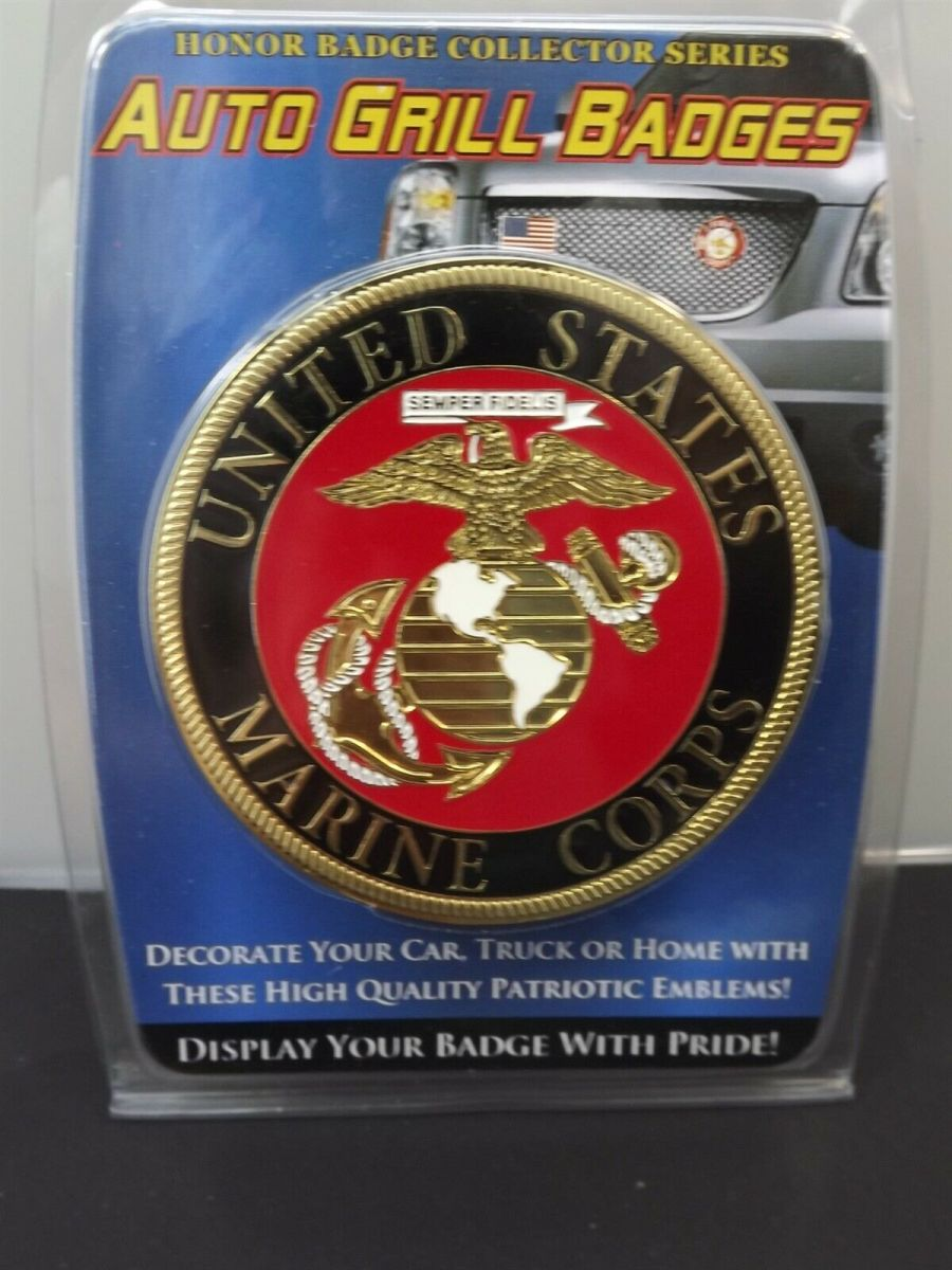 """MARINE CORPS USMC GRILL BADGE CAR TRUCK NEW 3"""" NR BRASS CLOSE OUT LAST ONES 1"""