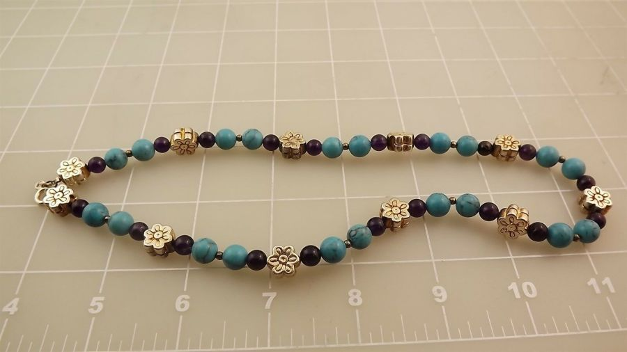 "Sterling Silver 925 TURQUOISE Beaded Necklace Measures 17"" 4"