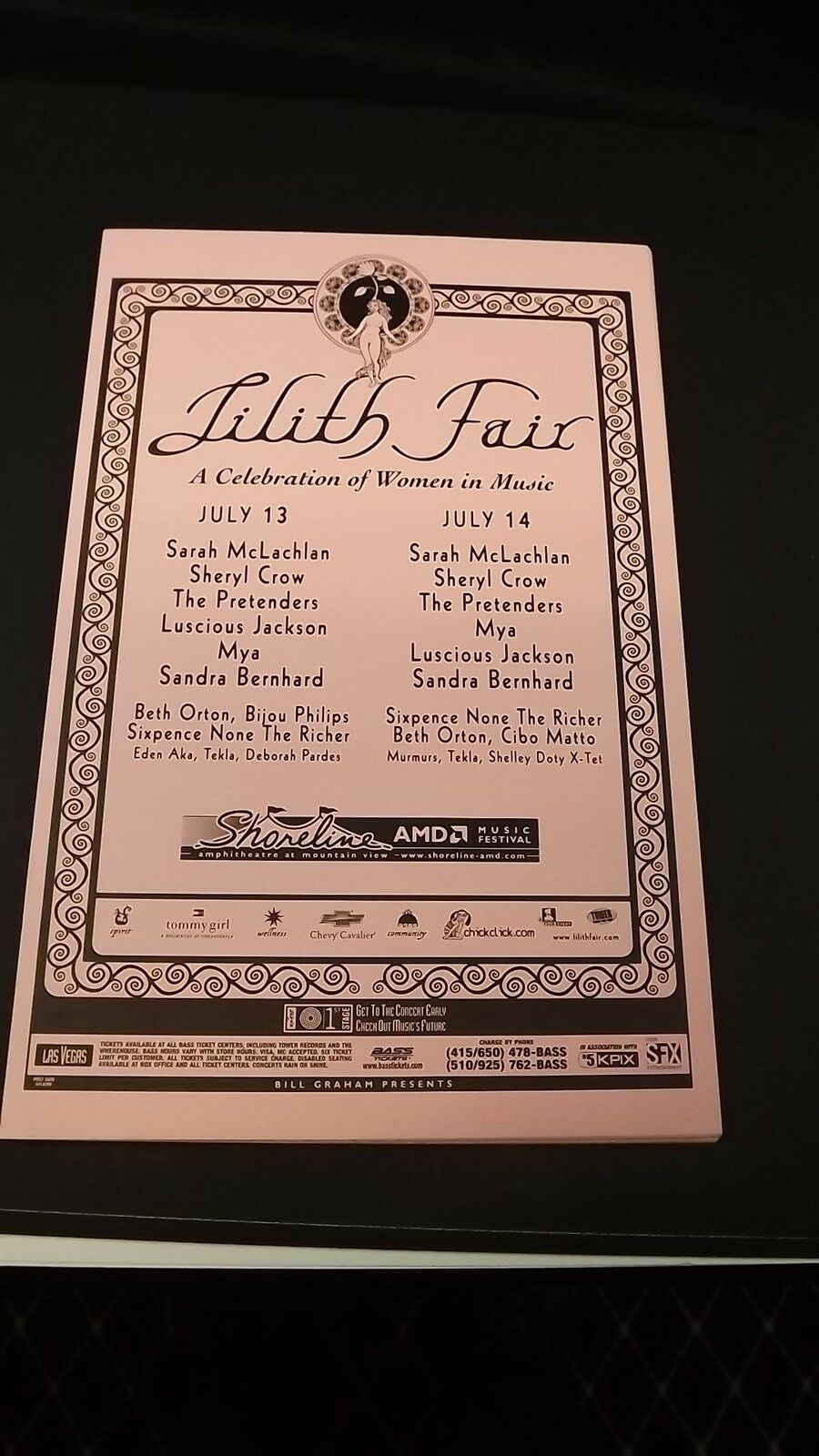 AUTHENTIC 1999 Lilith Fair Promo Flyer Ad Poster Sarah McLachlan-Sheryl Crow 1