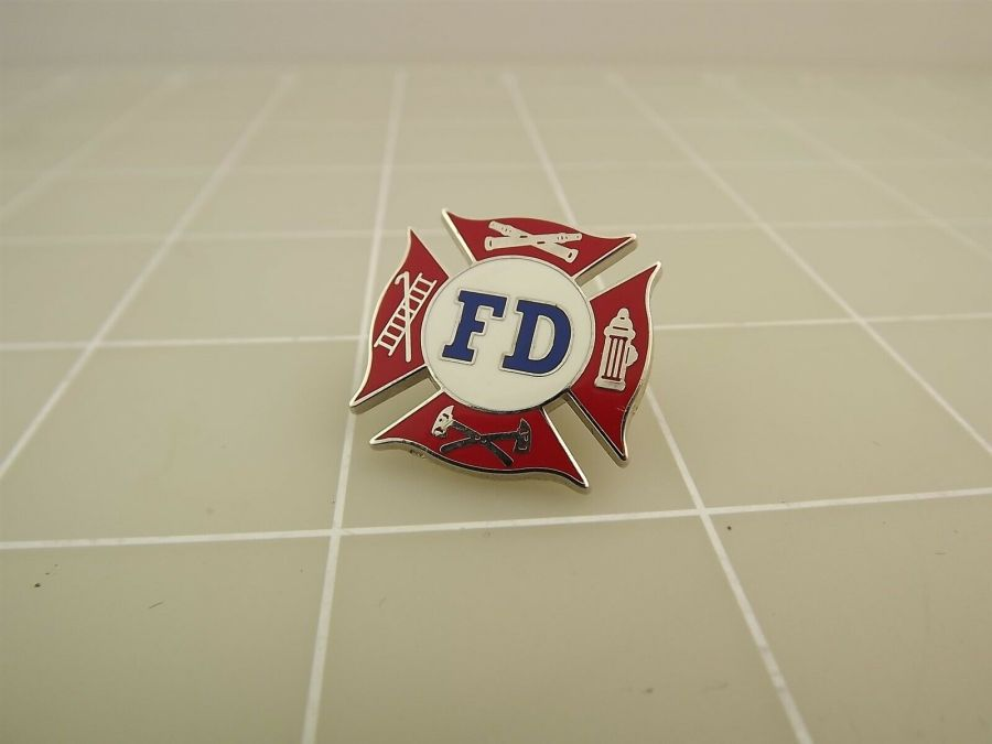 BRAND NEW Fireman Fire Department FD TOOLS Red White Blue Enameled Lapel Pin 1