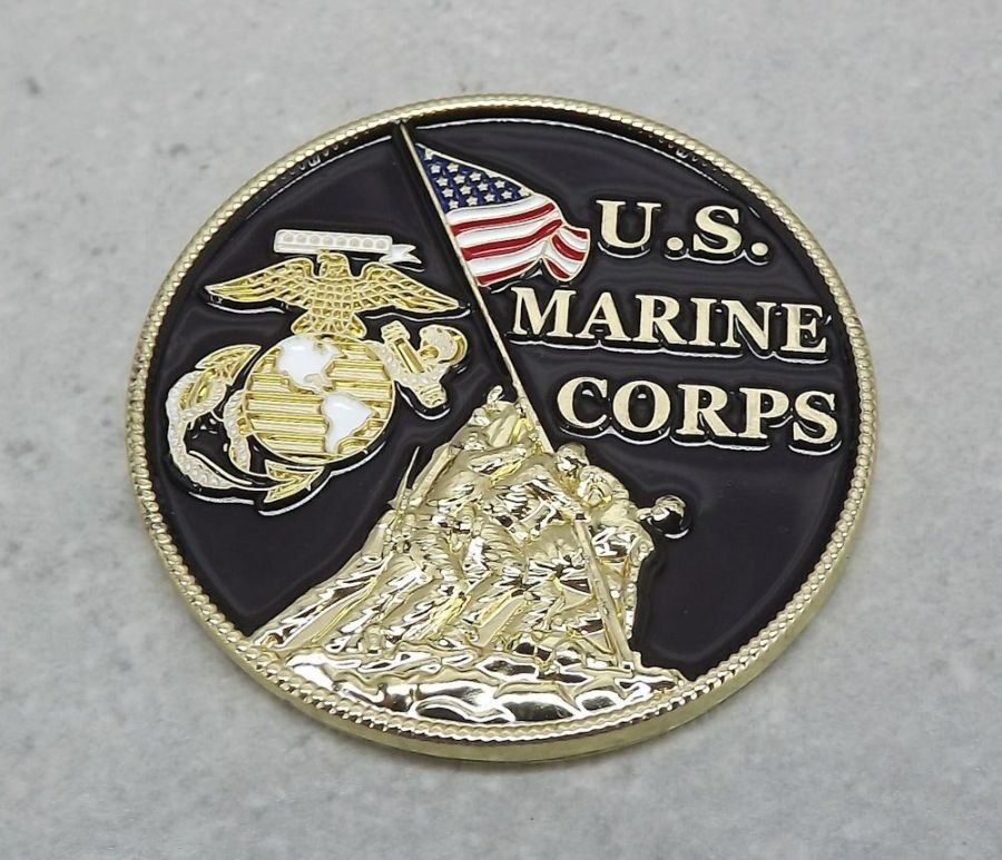 "CHALLENGE COIN, US MADE NEW USMC Marines Logo Enameled Brass USA MADE 1-1/2"" 3"