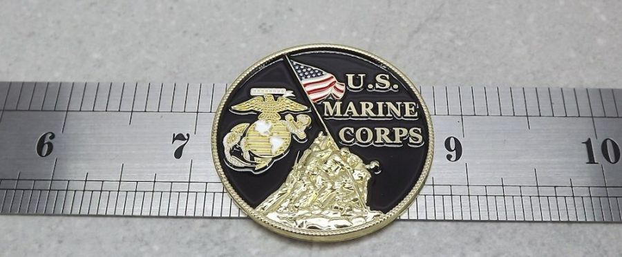 "CHALLENGE COIN, US MADE NEW USMC Marines Logo Enameled Brass USA MADE 1-1/2"" 5"