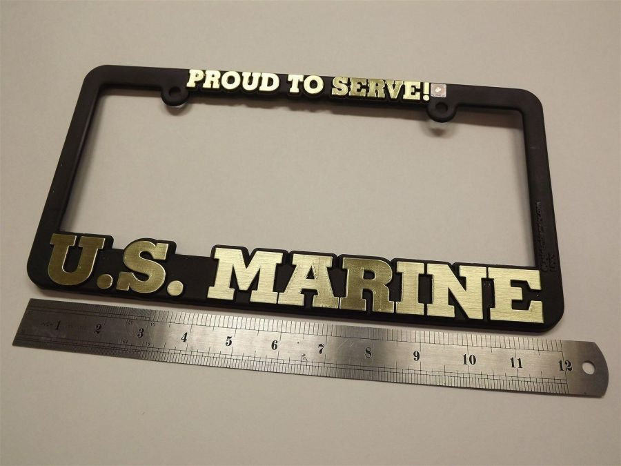 LICENSE PLATE FRAME USMC MARINE CORP STANDARD SIZE MILITARY NEW IMPACT PLASTIC 1