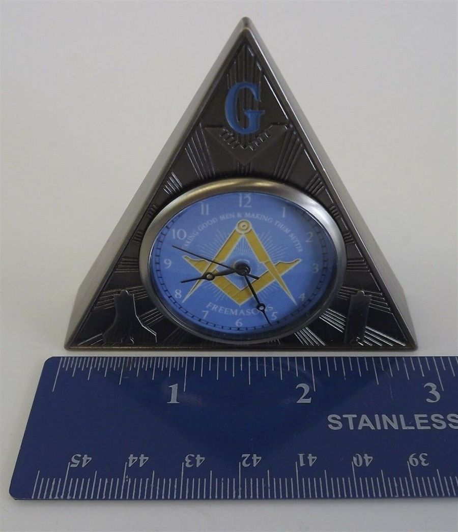 New Masonic Mason Triangle Table Clock Office Desk Clock Paperweight FREEMASON 5
