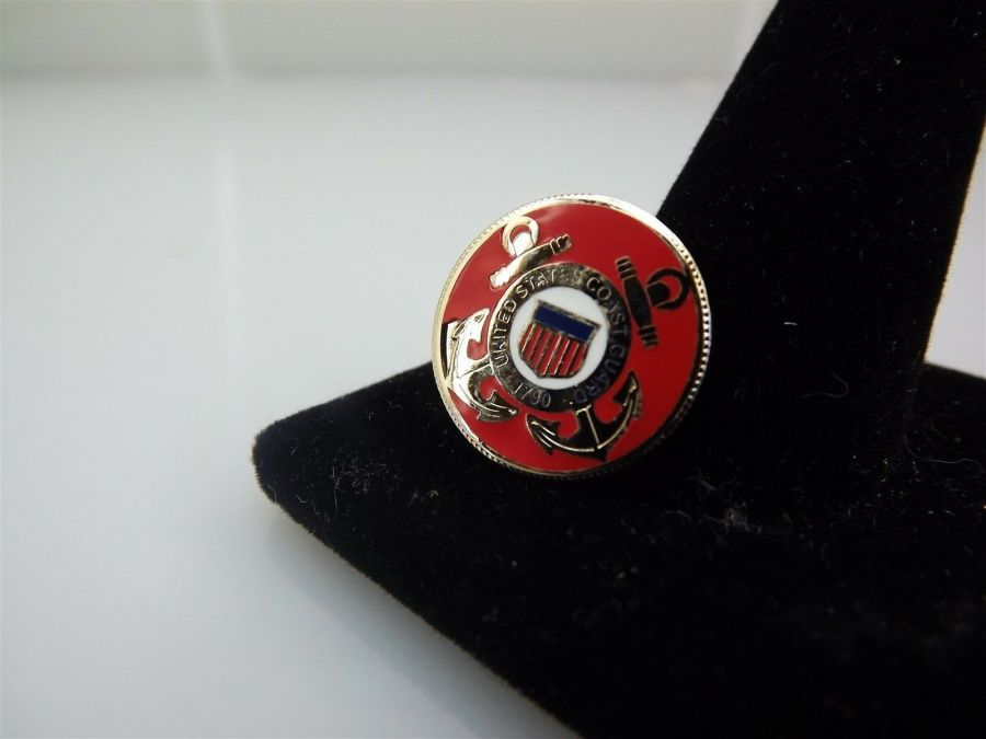 """BRAND NEW Lapel Pin United States Coast Guard USCG Anchors Red Enamel 3/4"""" 1"""