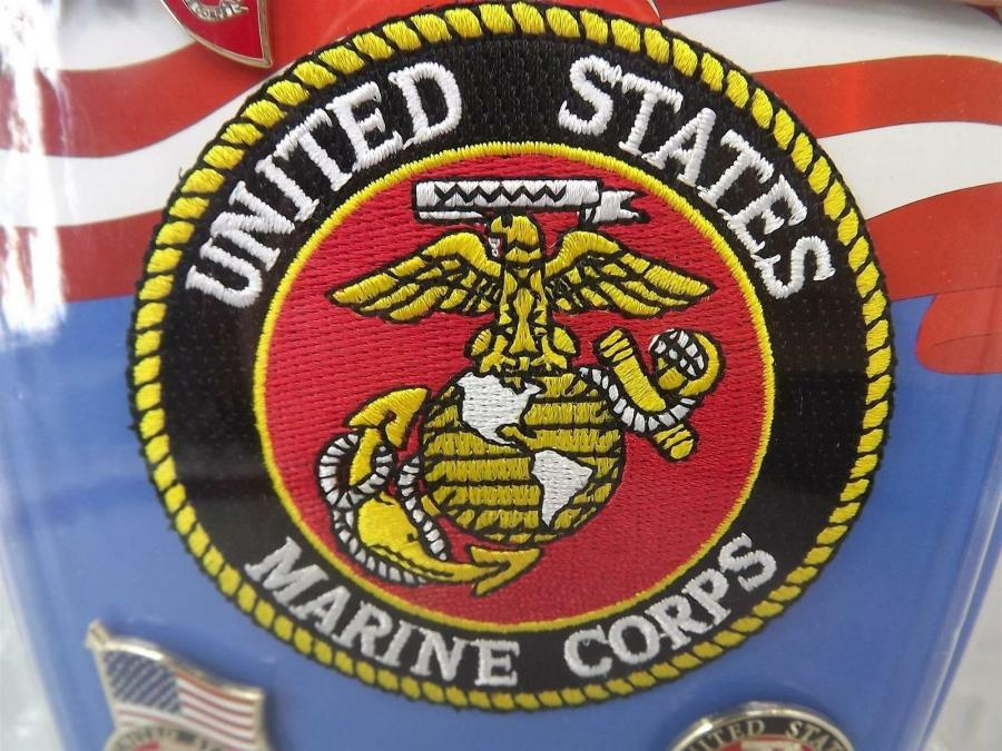 "Brand New USMC MARINE CORPS GIFT SET 3"" Iron On Patch & 4 Lapel Pins 4"