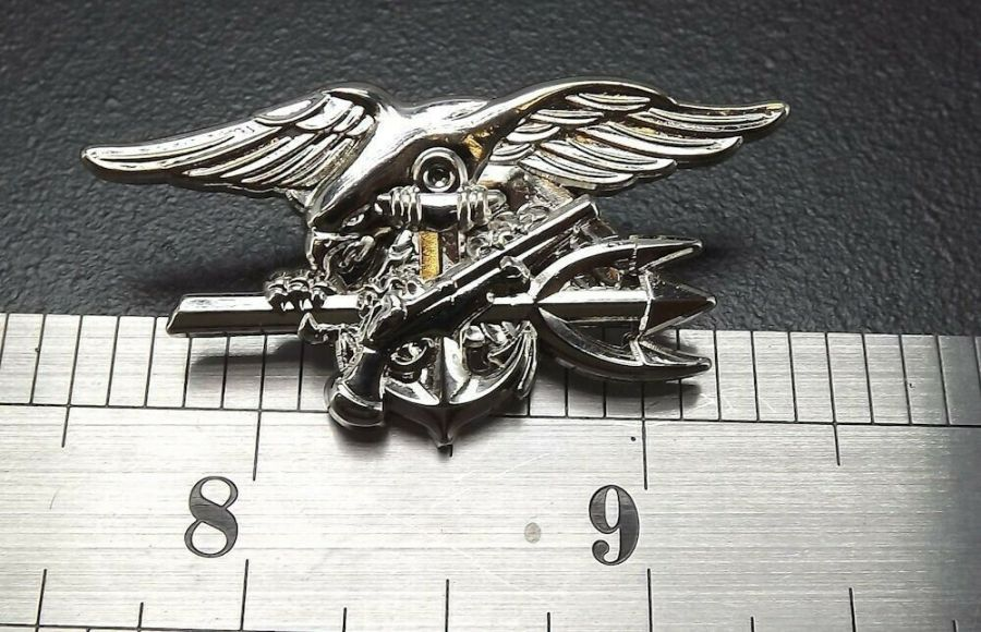 "Lapel pin BRAND NEW SEAL TEAM USN TRIDENT 1-3/4"" pin back SILVER COLOR 4"