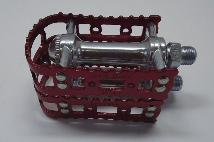 New MKS BM-7 BMX 9/16 Pedals Old School Bmx Red Anodized 2