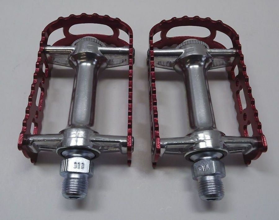 New MKS BM-7 BMX 9/16 Pedals Old School Bmx Red Anodized 3
