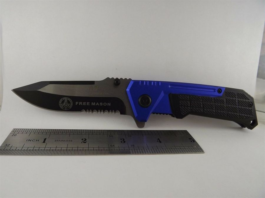 New Tactical Masonic Mason Folding Pocket Knife FREE MASON Square & Compass 3