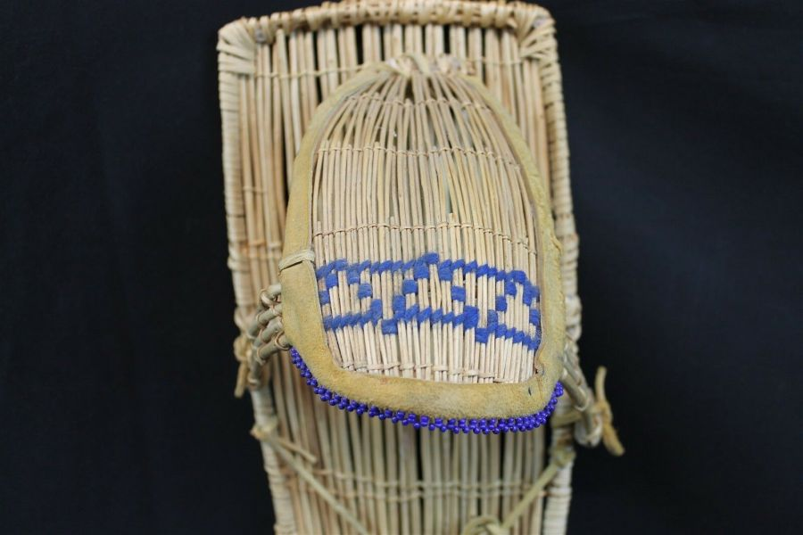 Vintage Native American Paiute Cradleboard W/Blue Beads Made In Yosemite Valley 3