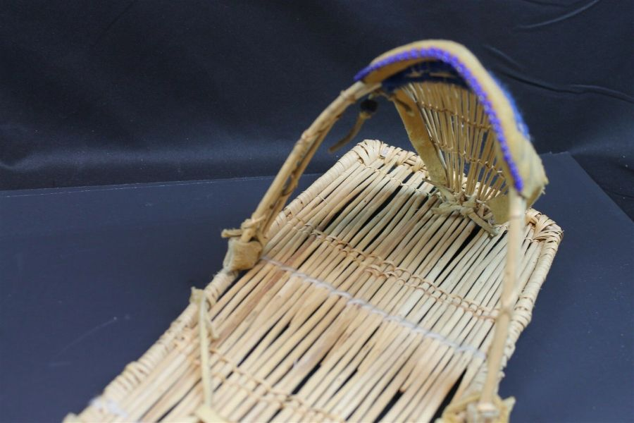 Vintage Native American Paiute Cradleboard W/Blue Beads Made In Yosemite Valley 5