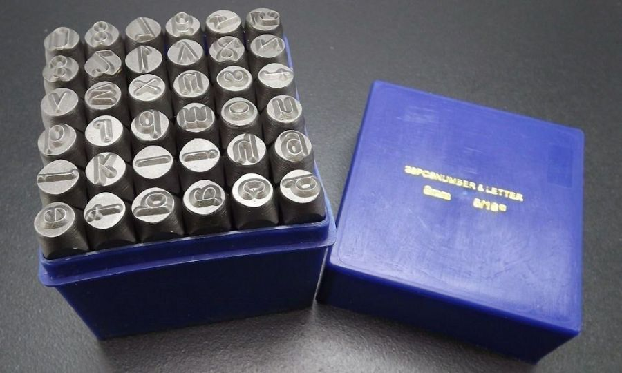 "8MM Metal Alphanumeric punch stamps 36 PIECE NEW box set SMALL LETTERS 5/16"" 1"