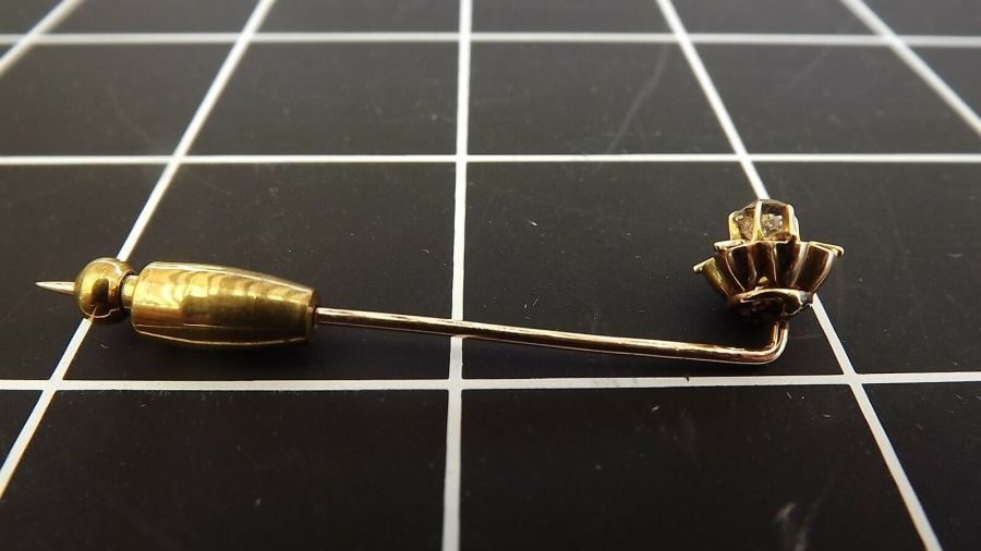 Antique 14KT Y/G Old Mine-cut DIAMOND Buttercup Mounting Stick Pin 5