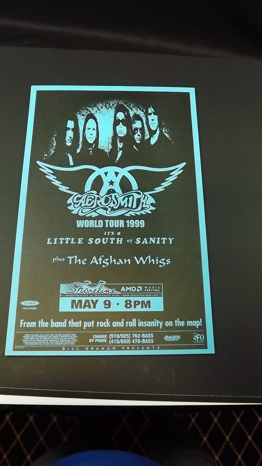 Genuine 1999 AEROSMITH World Tour Music Concert Poster Flyer Ad W/ AFGHAN WHIGS 1