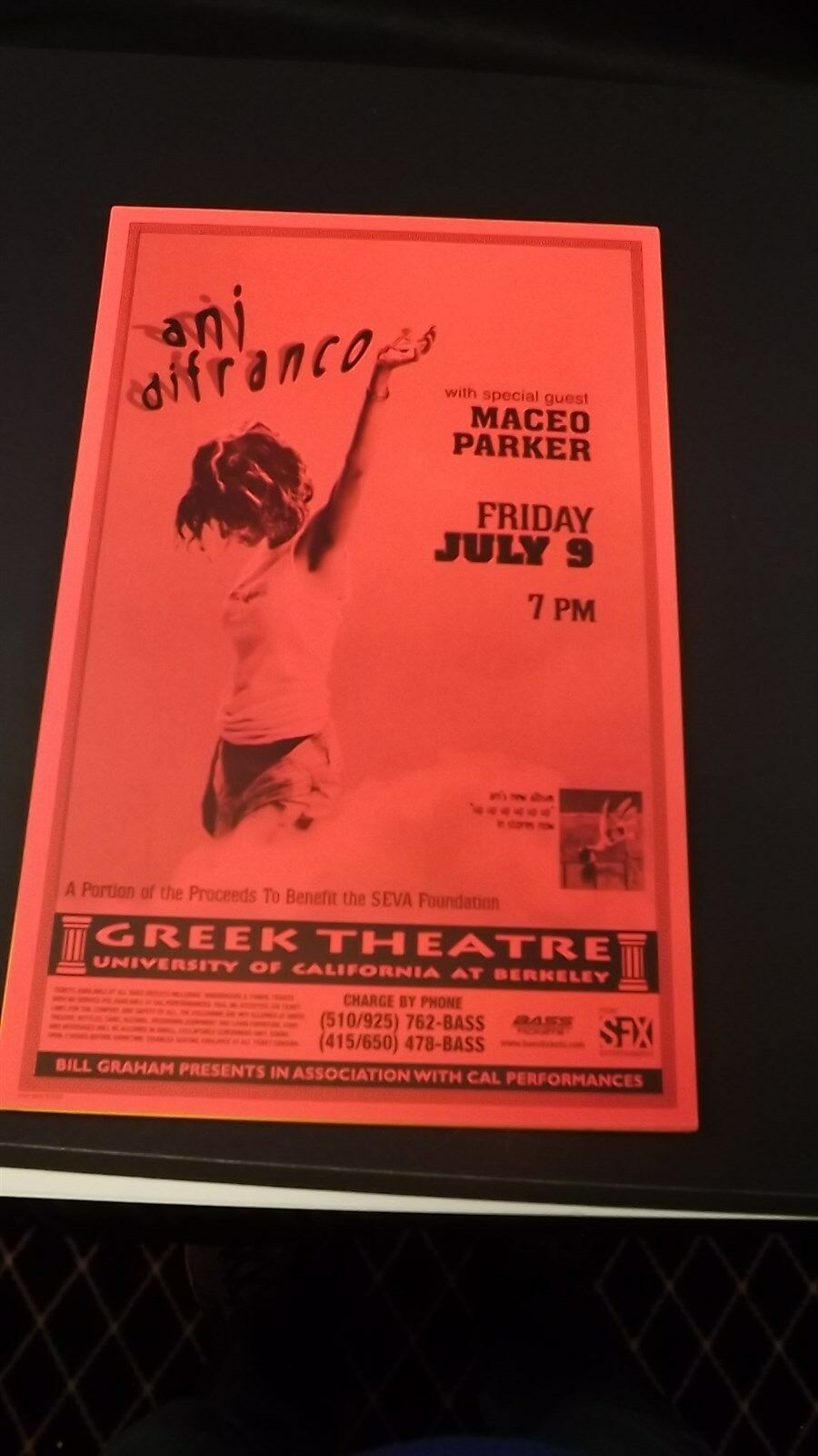 Genuine 1999 ANI DIFRANCO W/ MACEO PARKER Greek Theatre Concert Poster Flyer Ad 1