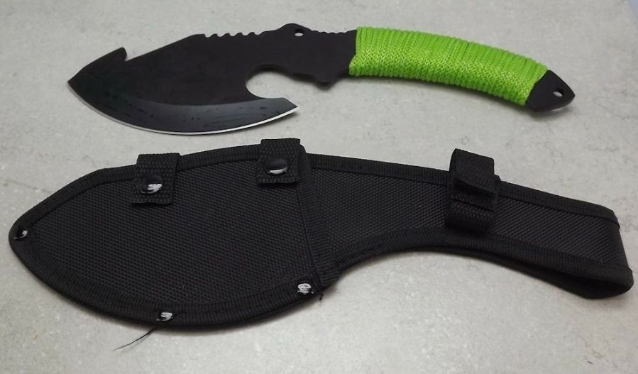 """HUNTING KNIFE 10"""", CUTTING EDGE 5"""", GUT HOOK, FULL TANG GREEN WRAPPED HANDLE 1"""