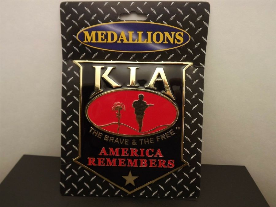 """""""KIA"""" GRILL BADGE CAR TRUCK WALL MOUNTED BRAND NEW 5-1/2"""" ENAMELED BRASS 5"""