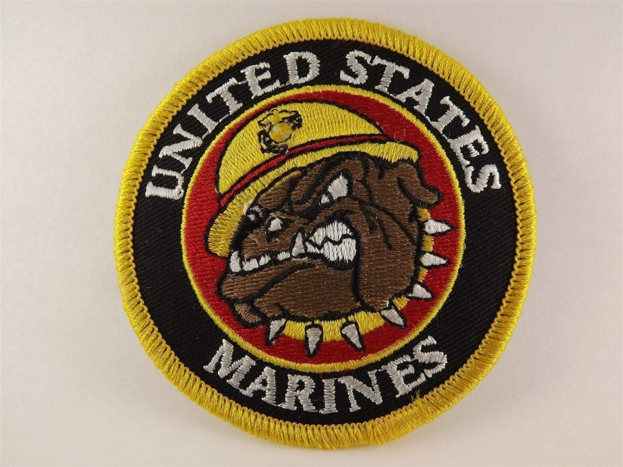 "MARINE CORPS USMC BULLDOG PATCH LOGO GOLD BLACK BRAND NEW 3"" 1"