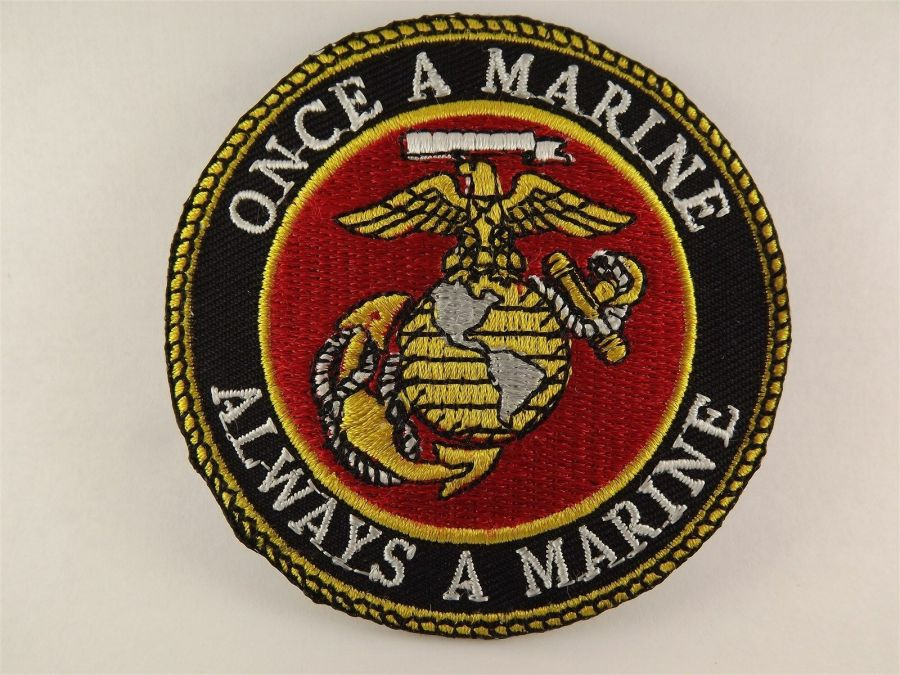 "ONCE A MARINE ALWAYS A MARINE USMC PATCH LOGO SEMPER FI BRAND NEW 3"" IRON-ON 1"