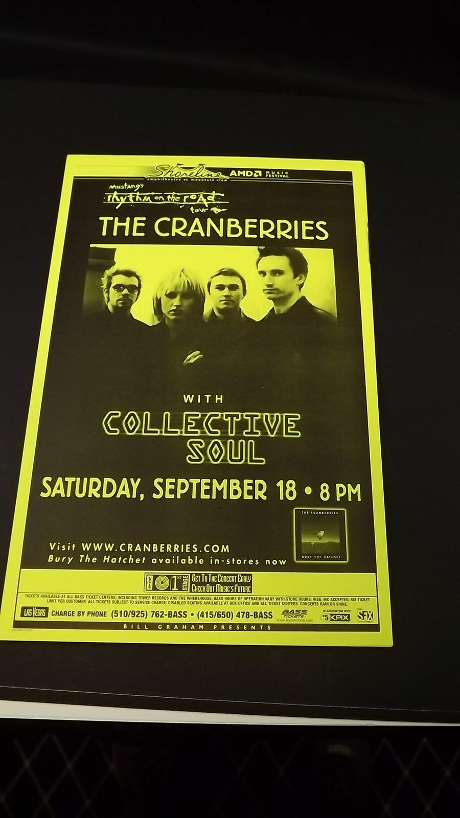 Genuine 1999 The CRANBERRIES W/ Collective Soul Music Concert Poster Flyer Ad 1