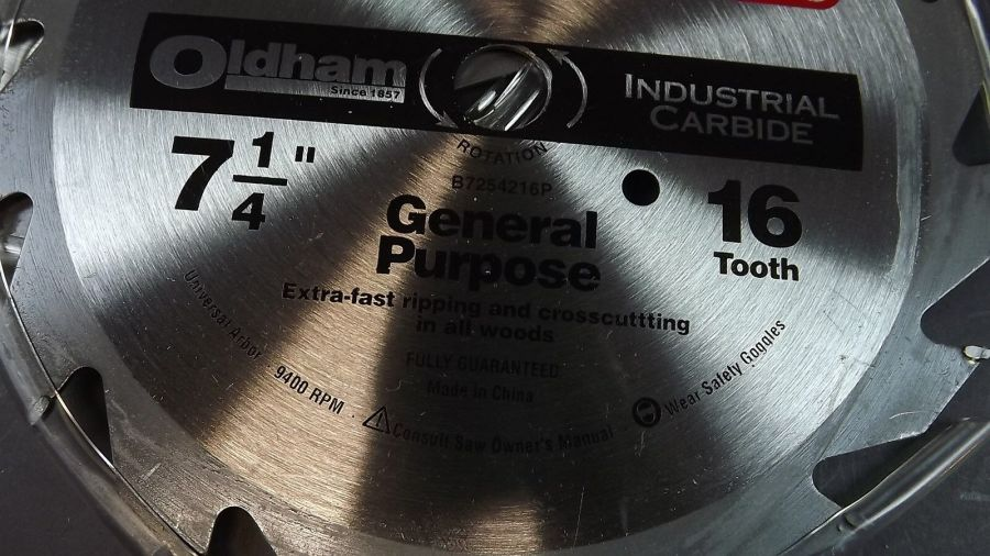 """SET OF 3"" New Sutherlands Oldham General Purpose Saw Blade 7 1/4"" 16 T Carbide 3"
