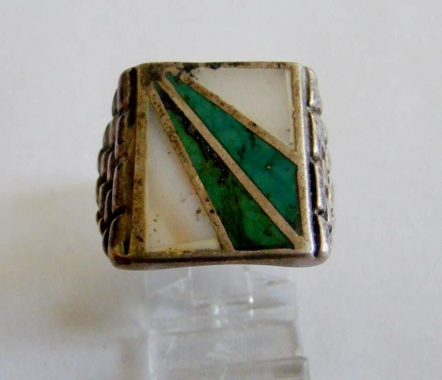 Sterling Silver Inlaid Spray Design Turquoise & Mother of Pearl Ring 1
