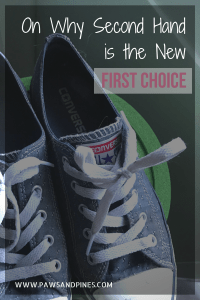 Used shoes with text overlay: On why second hand is the new first choice