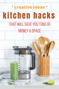 Array of kitchen tools with text overlay Kitchen Hacks that will save you tons of money and space.